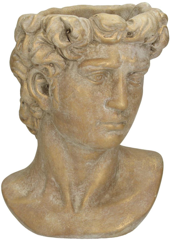 XS Übertopf David aus Beton, Beton, Braun, Goldfarben mit Antik-Finish, 17 x 23 cm