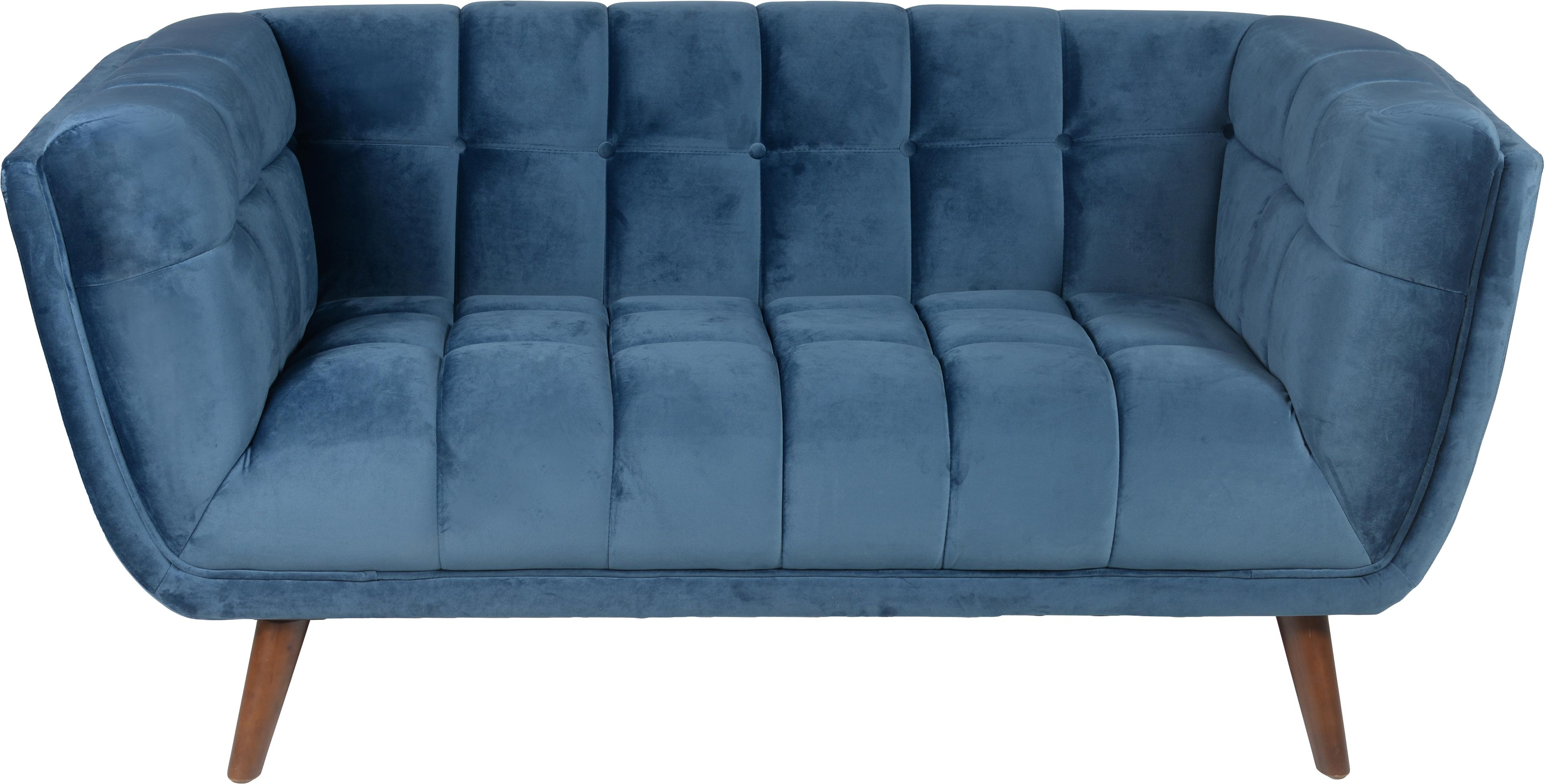 Fluwelen bank Beryl (2-zits), Bekleding: polyesterfluweel, Poten: gelakt walnoothout, Frame: multiplex, Bekleding: polyurethaanschuim (25-30, Blauw, walnootkleurig, B 164 x D 90 cm