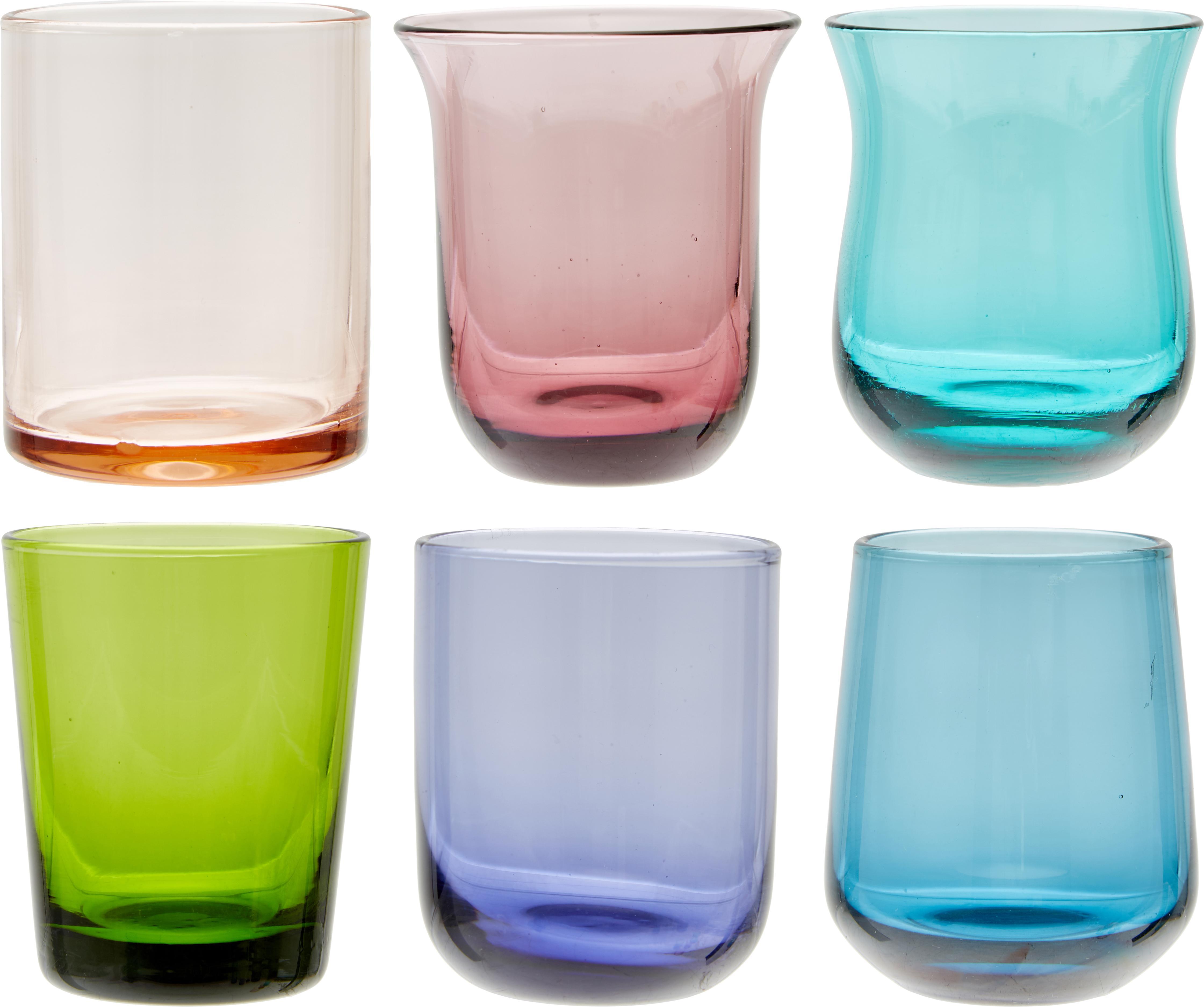 Set bicchieri in vetro soffiato Desigual, 6 pz., Vetro soffiato, Multicolore, Ø 6 x H 6 cm