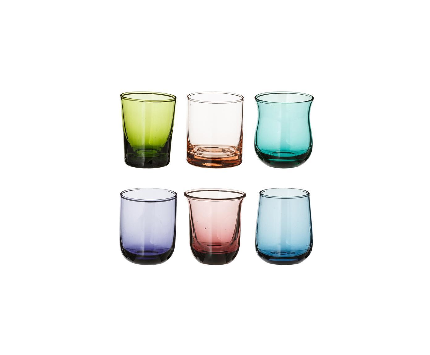 Vasos chupito de vidrio soplado Desigual, 6uds., Vidrio soplado, Multicolor, Ø 6 x Al 6 cm
