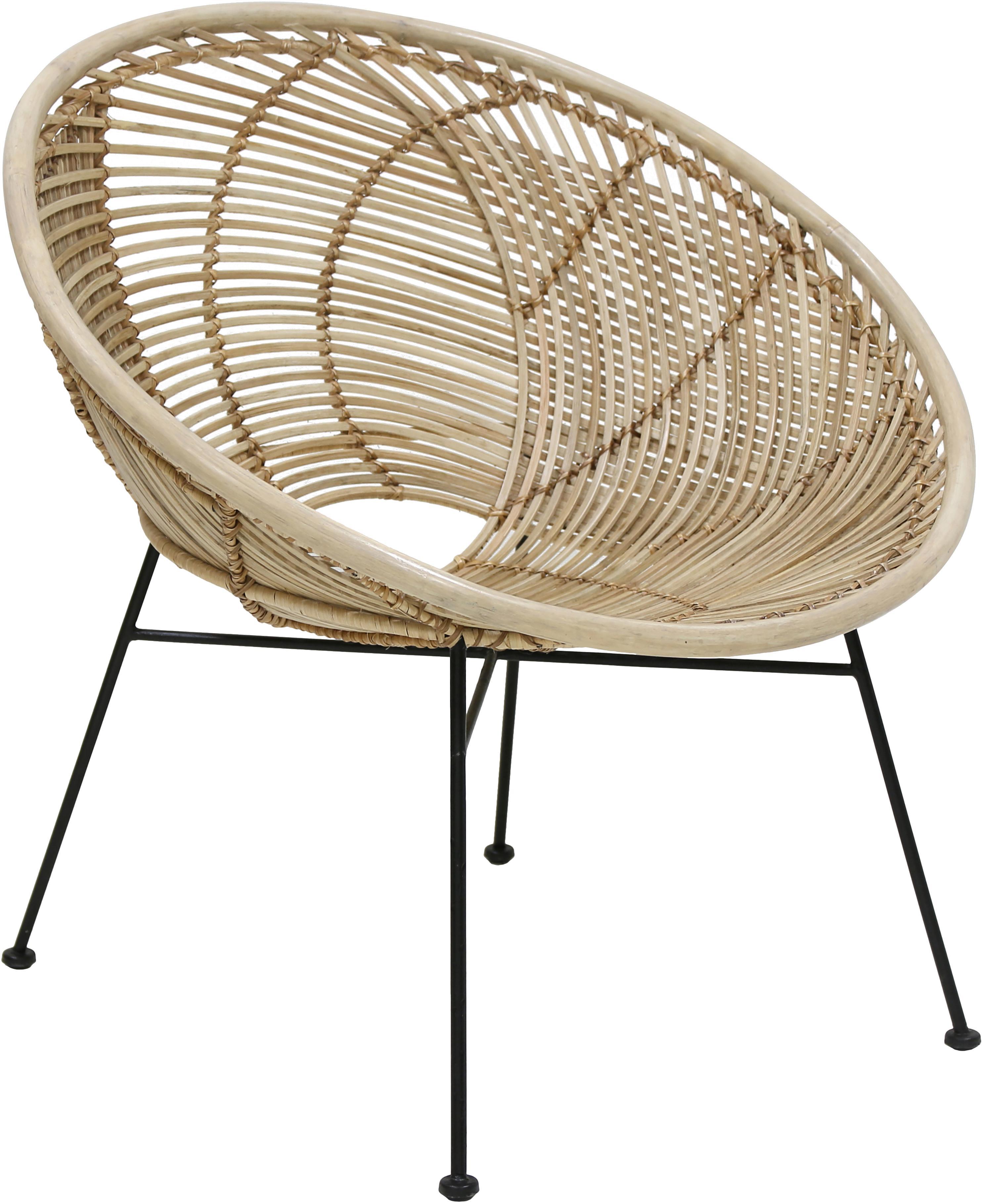Sedia a poltrona in rattan Circles, Seduta: rattan, Gambe: metallo verniciato a polv, Rattan, Larg. 72 x Prof. 79 cm