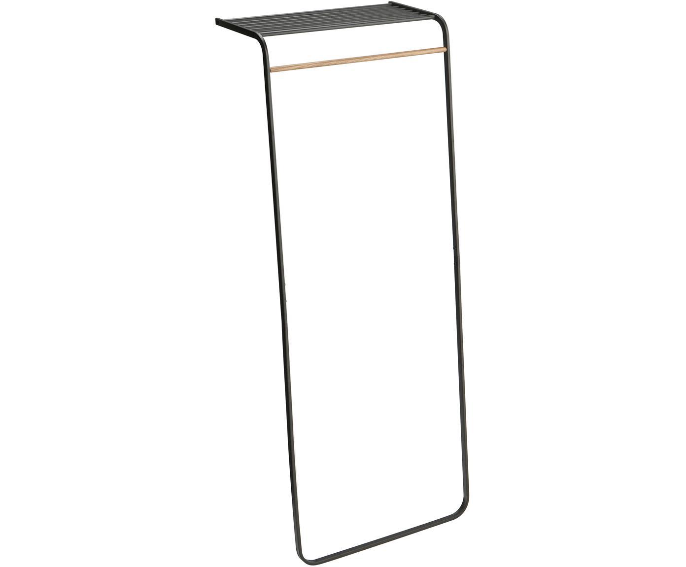 Wand-Kleiderständer Tower aus Metall, Metall, beschichtet Holz, naturbelassen, Schwarz, Holz, 60 x 160 cm