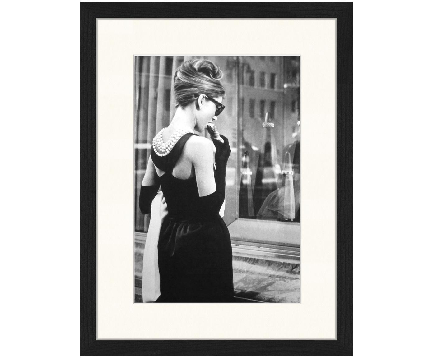Oprawiony druk cyfrowy Breakfast at Tiffany's, Ilustracja: czarny, biały Rama: czarny, S 33 x W 43 cm