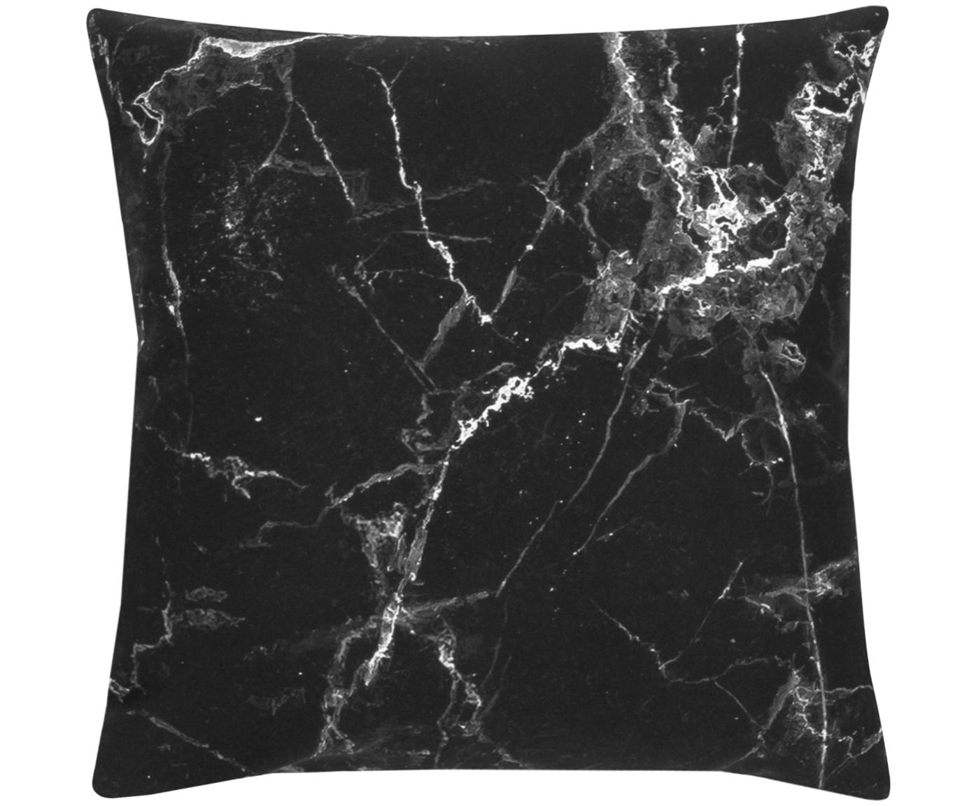 Kissenhülle Malin mit Marmormuster, Webart: Perkal, Marmormuster, Schwarz, 45 x 45 cm