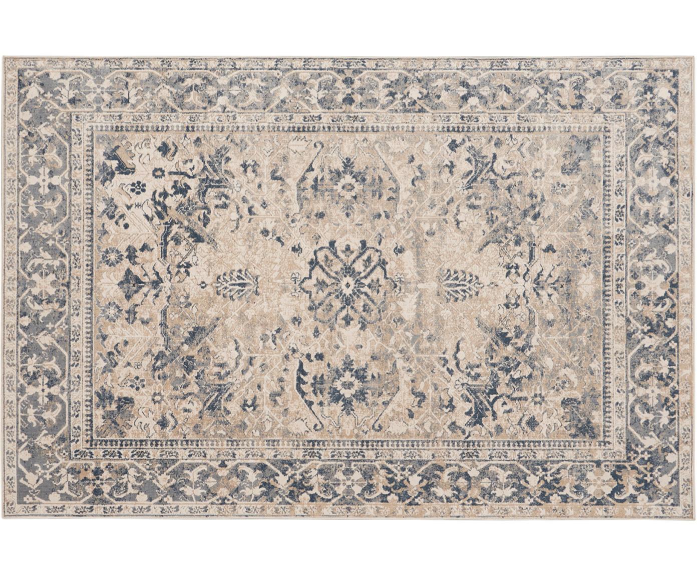 Vintage Teppich Malta in Blau-Beige, Elfenbeinfarben, Blautöne, B 120 x L 170 cm (Größe S)