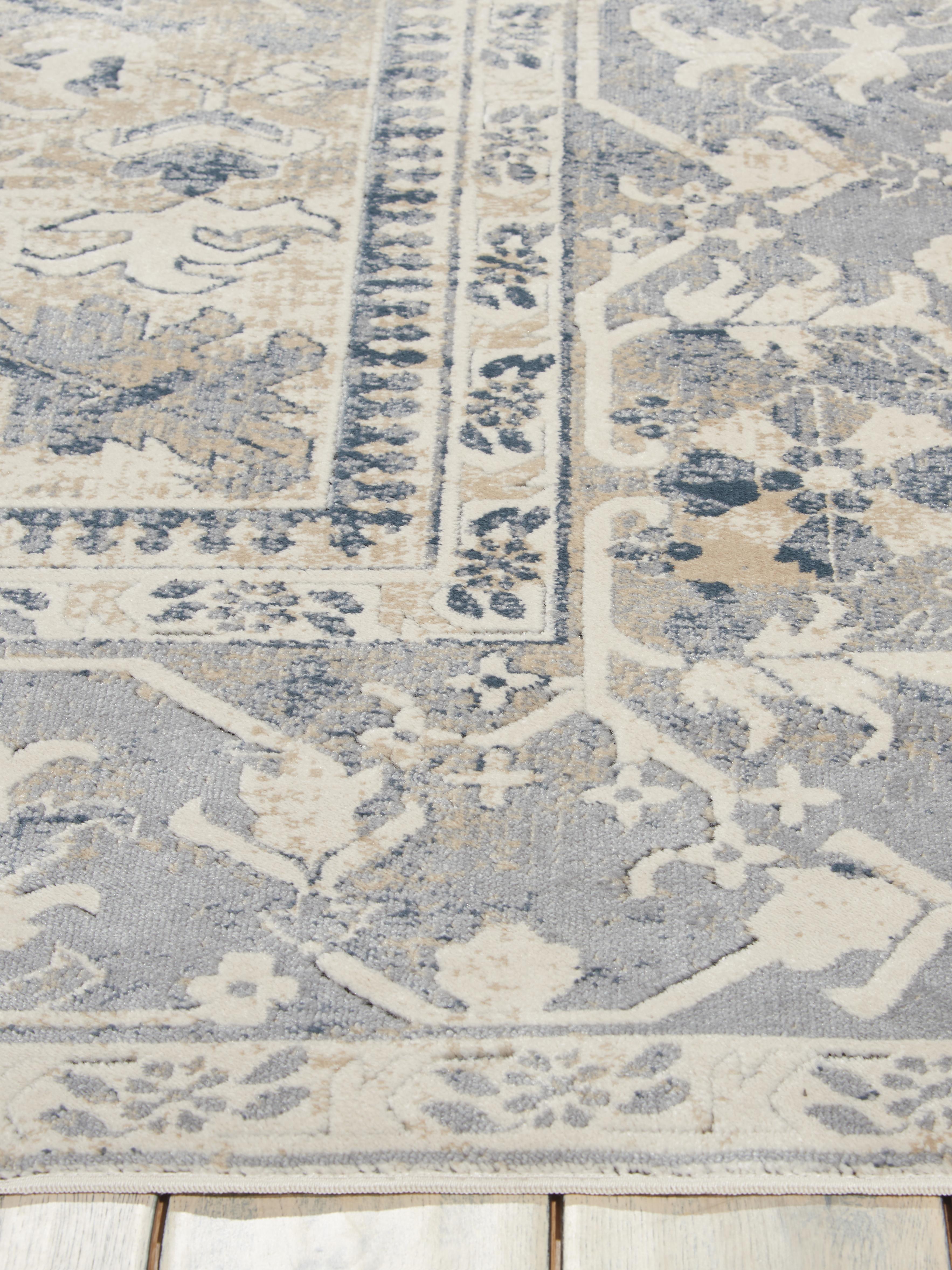 Tapis vintage bleu beige Malta, Blanc ivoire, tons bleus