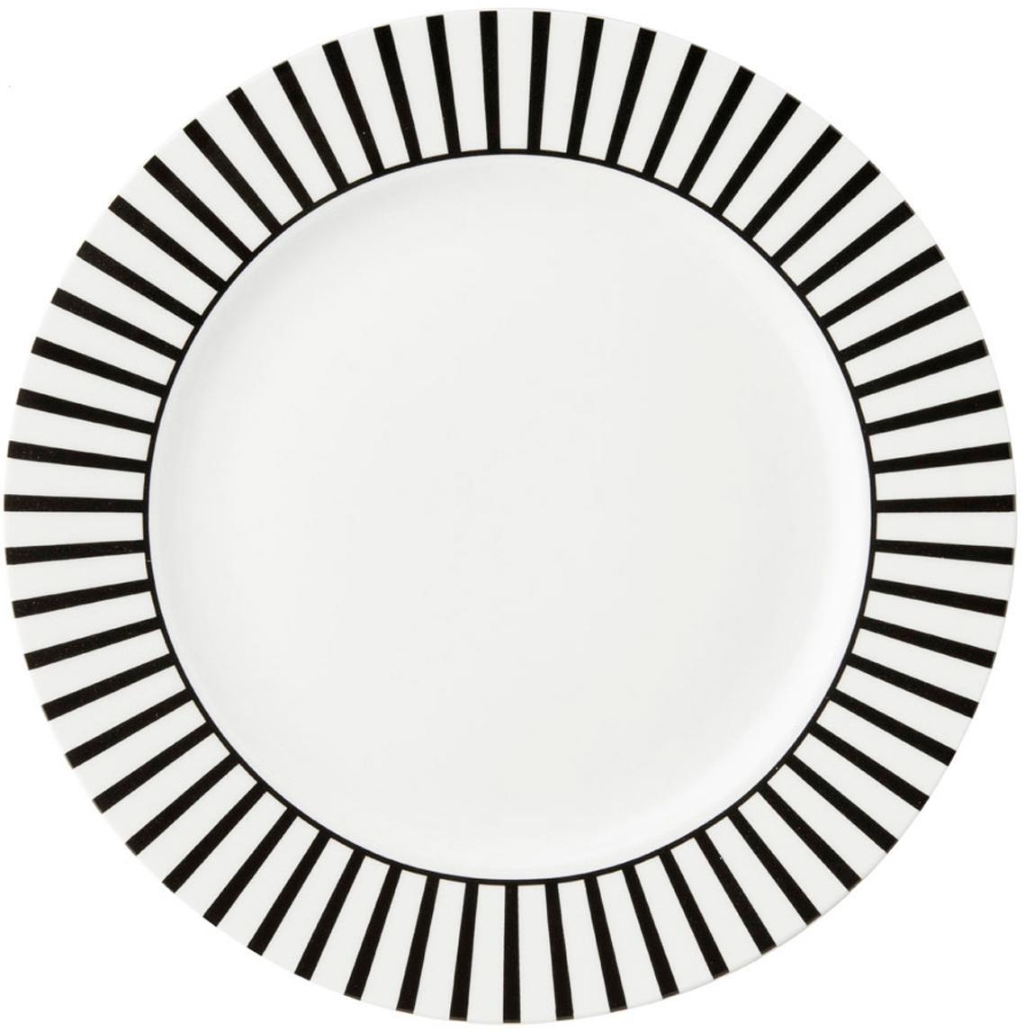 Piattino da dessert con decoro a righe Ceres Loft 4 pz, Porcellana, Bianco, nero, Ø 21 x Alt. 2 cm