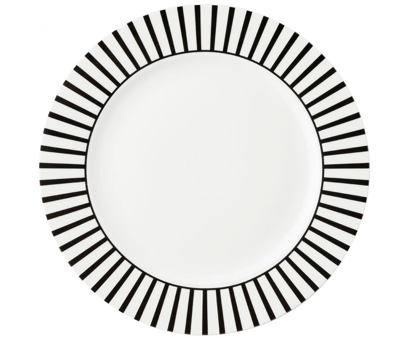 Frühstücksteller Ceres Loft mit Streifendekor in Schwarz/Weiss, 4 Stück, Porzellan, Weiss, Schwarz, Ø 21 x H 2 cm