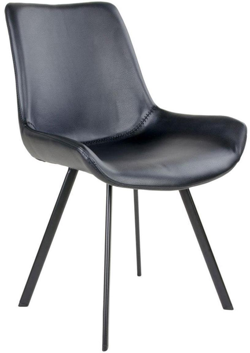 Silla tapizadas en cuero sintético Drammen, Tapizado: piel sintética, Patas: acero, Negro, An 60 x F 55 cm