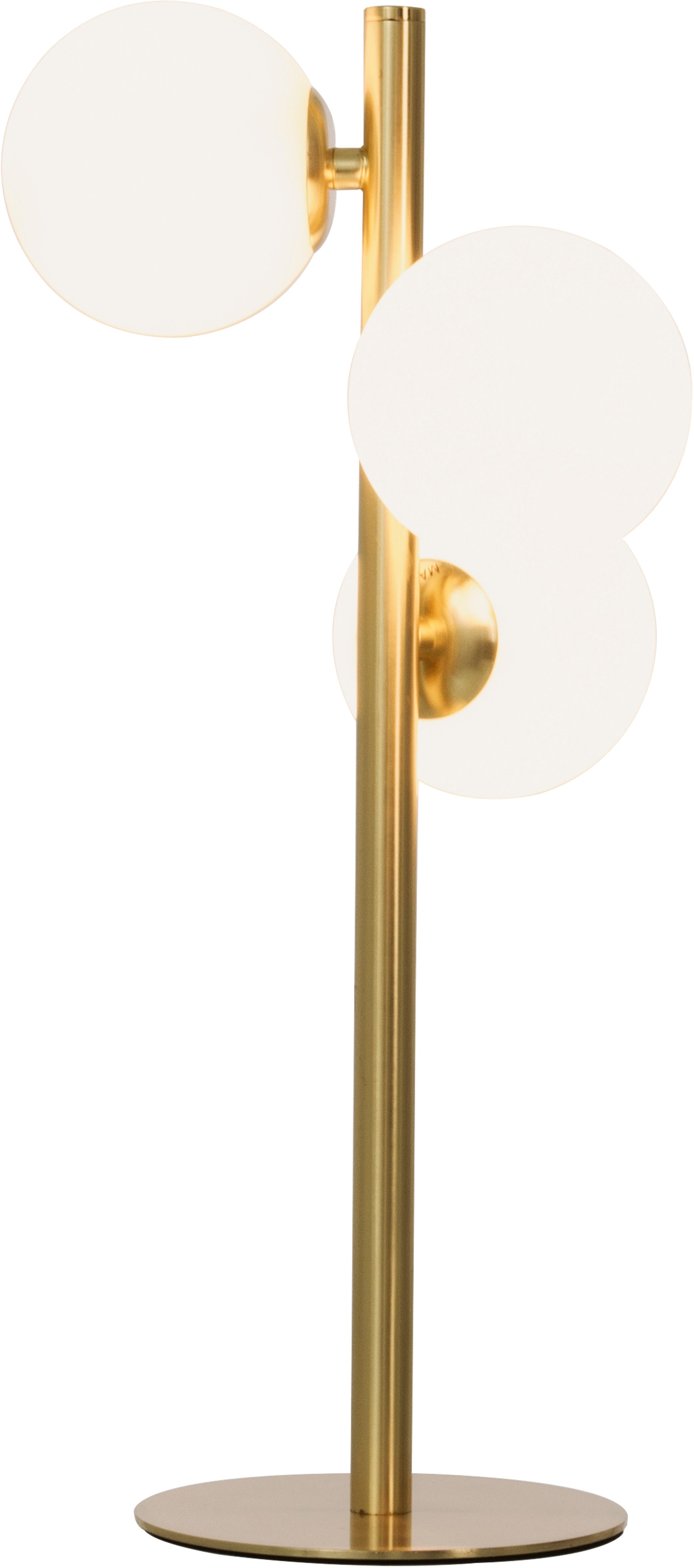 Tafellamp Molekyl, Lampenkap: opaalglas, Lampvoet: messing, Messingkleurig, opaalwit, 24 x 46 cm