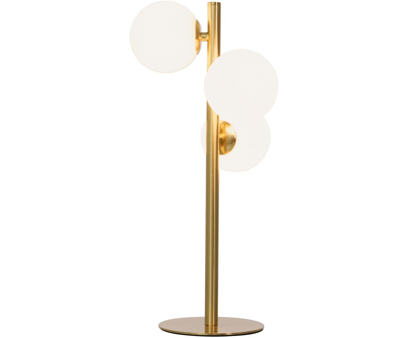 Tischleuchte Molekyl, Lampenschirm: Opalglas, Lampenfuß: Messing, Messing, Opalweiß, 24 x 46 cm
