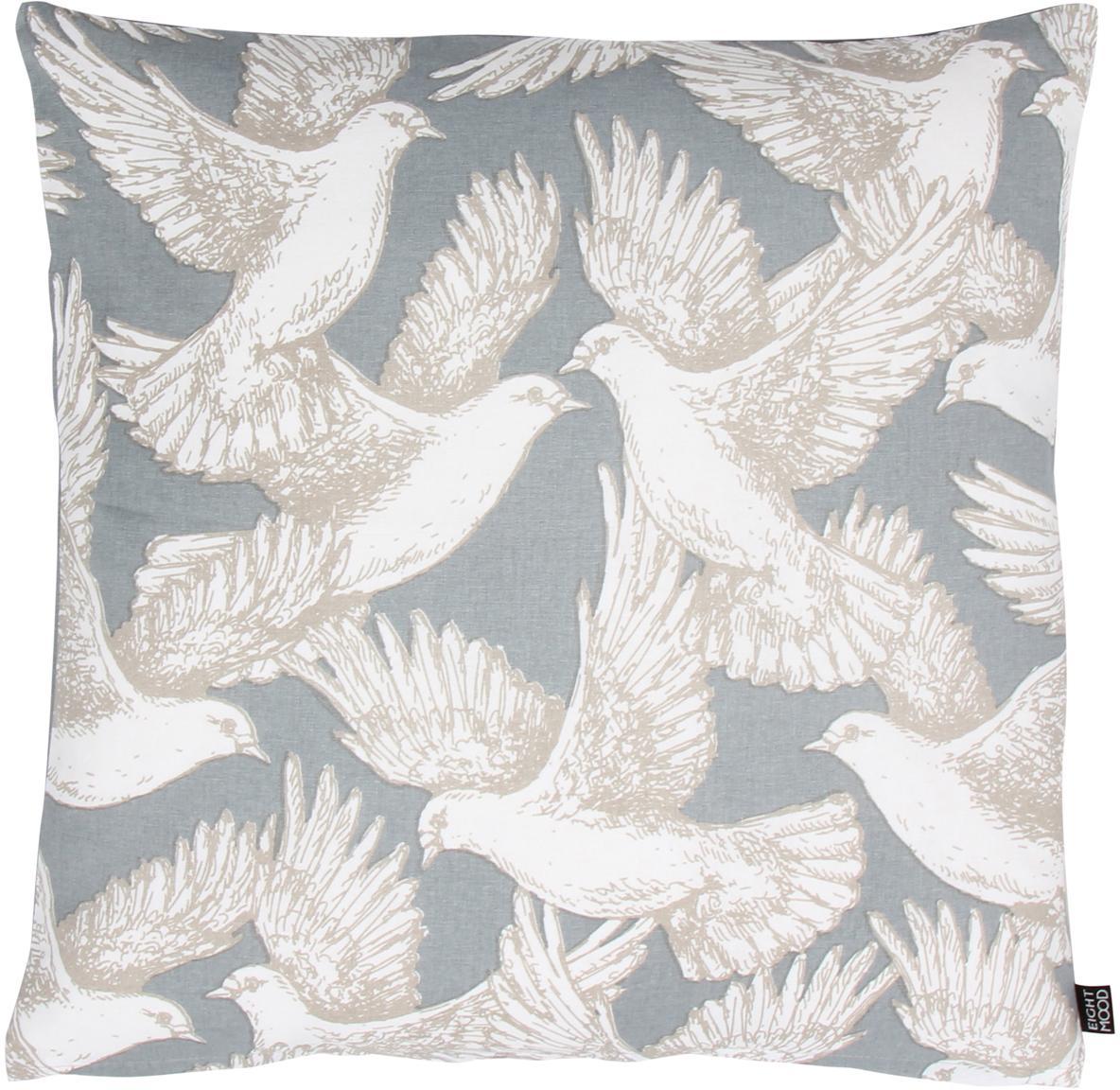 Kissenhülle Wings of Love mit Taubenmotiv, 100% Baumwolle, Hellblau, Weiß, 50 x 50 cm