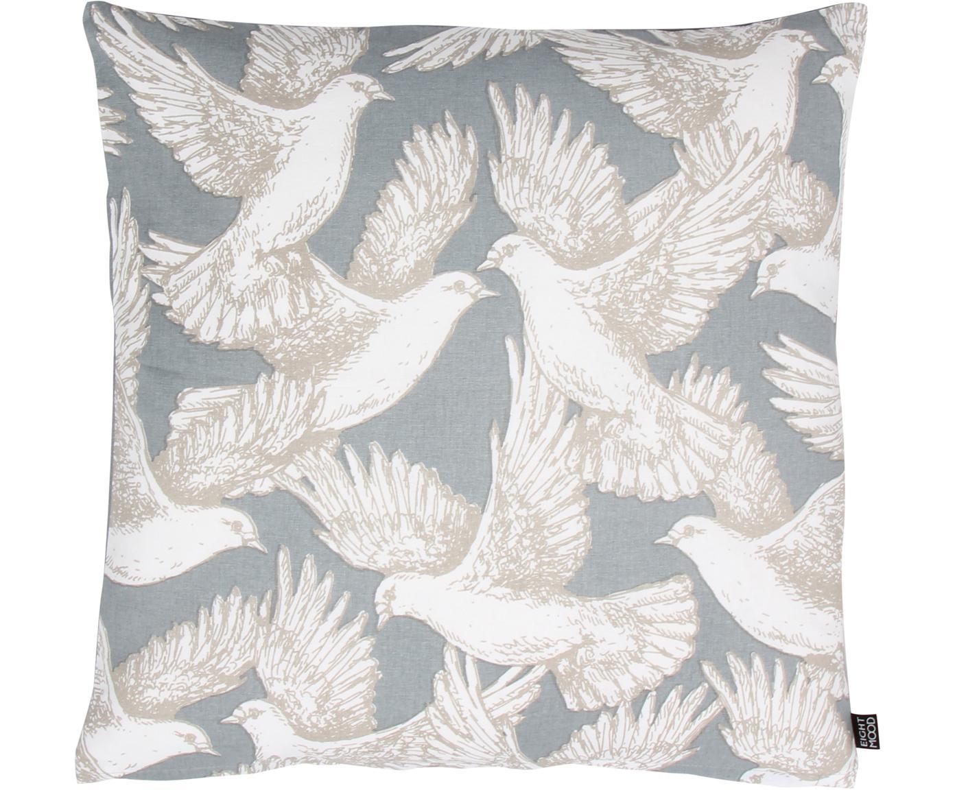 Kussenhoes Wings of Love met duifmotief, Katoen, Lichtblauw, wit, 50 x 50 cm