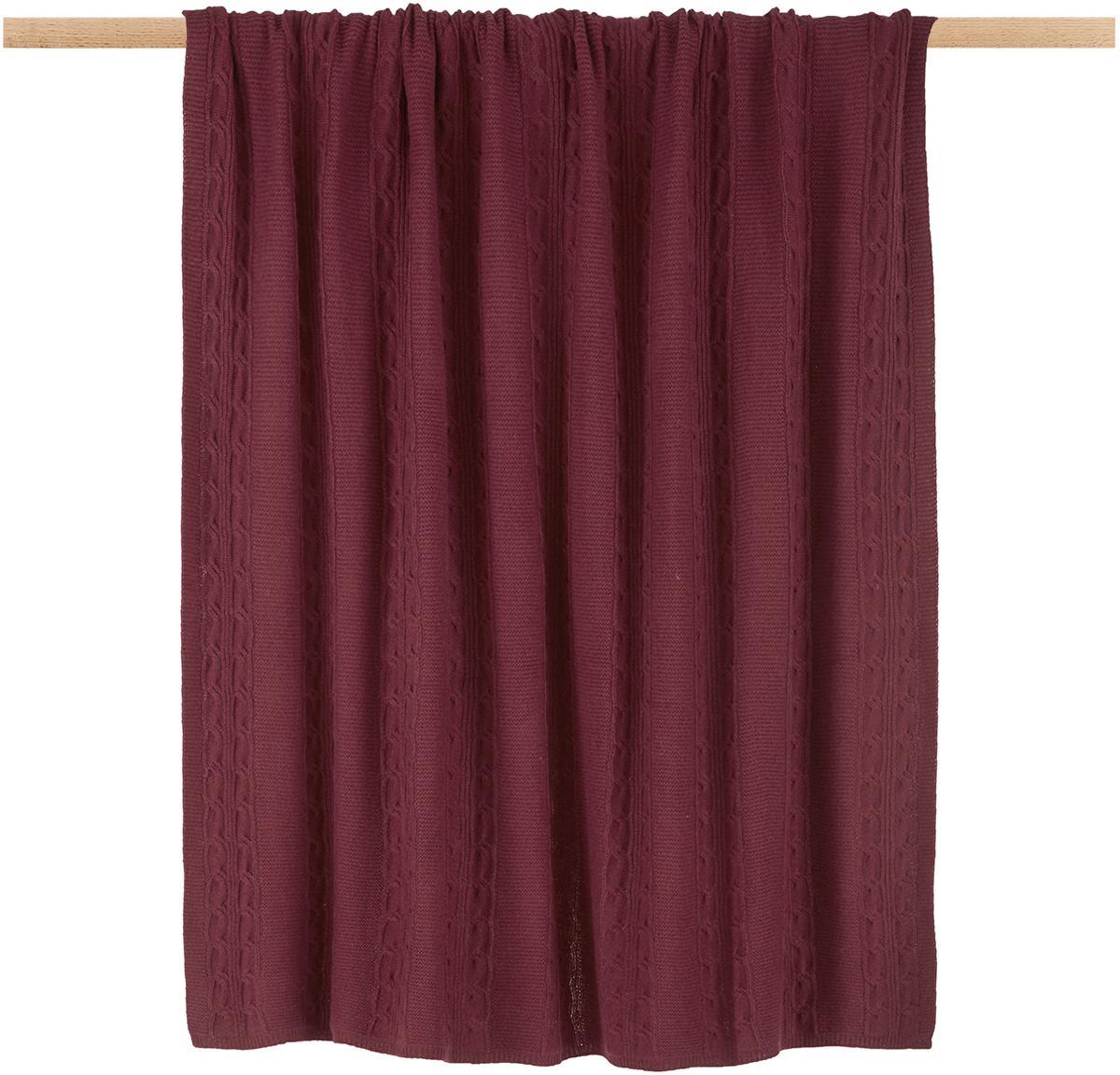Plaid in puro cashmere Leonie con motivo a trecce, 100% cashmere Il cashmere è molto morbido, confortevole e caldo, Rosso scuro, Larg. 130 x Lung. 170 cm