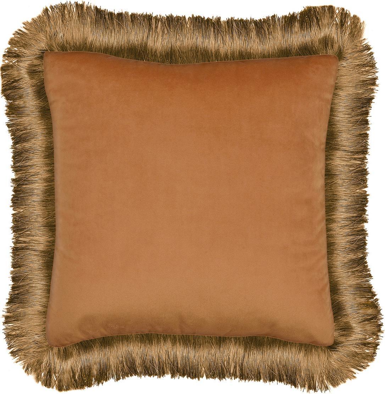 Cuscino con imbottitura Fringes, Arancione, Larg. 45 x Lung. 45 cm