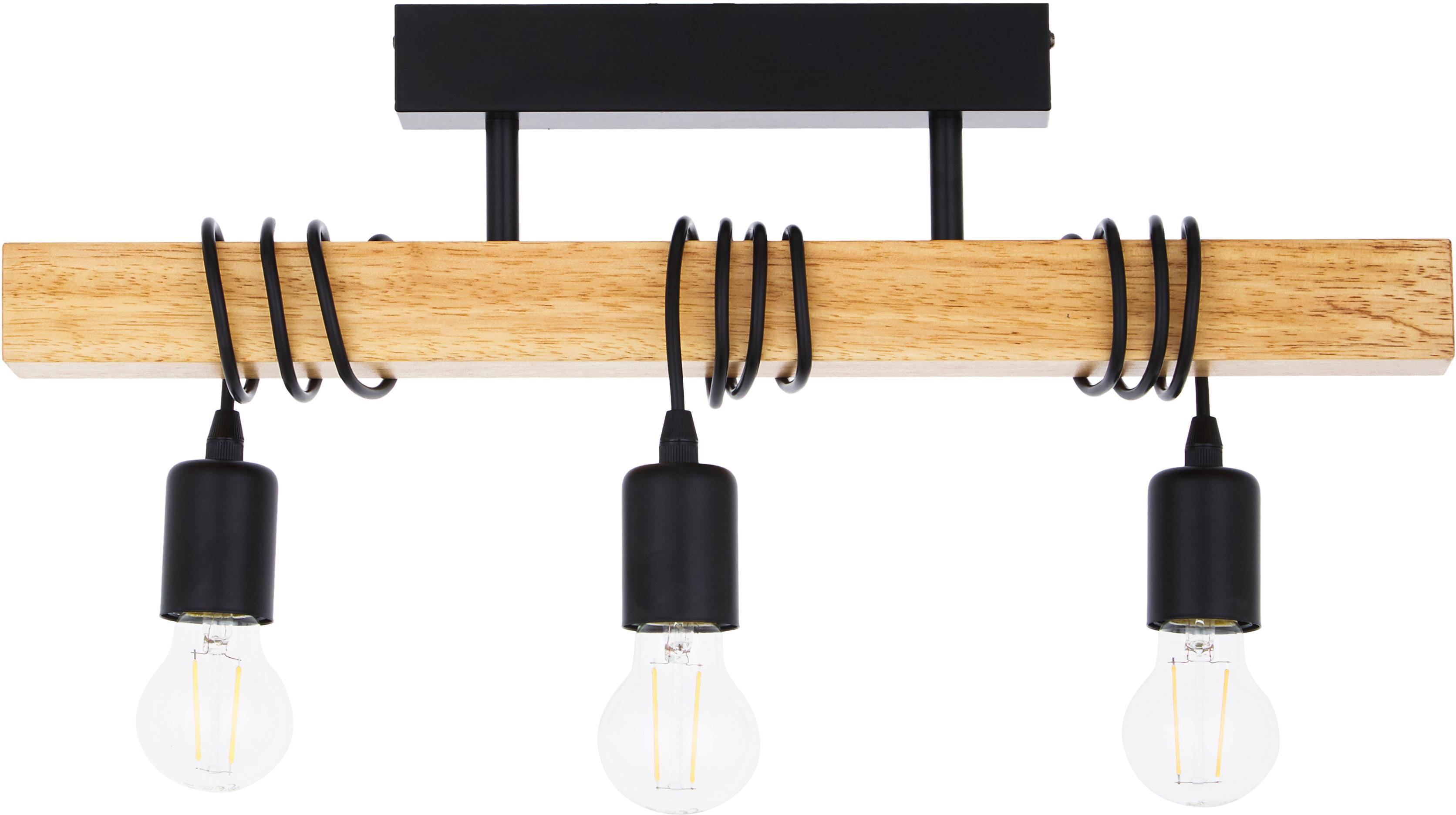 Lampa sufitowa Townshend, Czarny, drewno naturalne, S 55 x W 27 cm