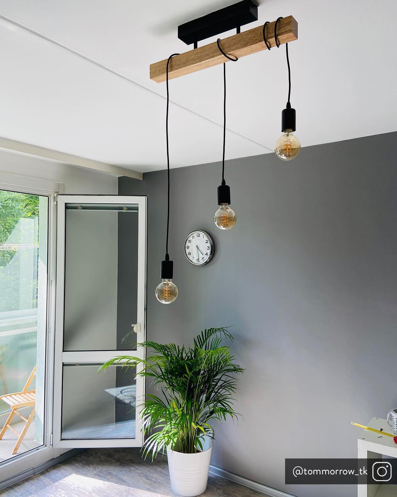 Plafondlamp Townshend van hout, Zwart, houtkleurig, 55 x 27 cm