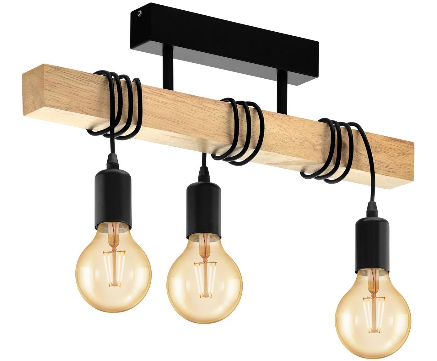 Lampa sufitowa z drewnaTownshend, Czarny, drewno naturalne, S 55 x W 27 cm
