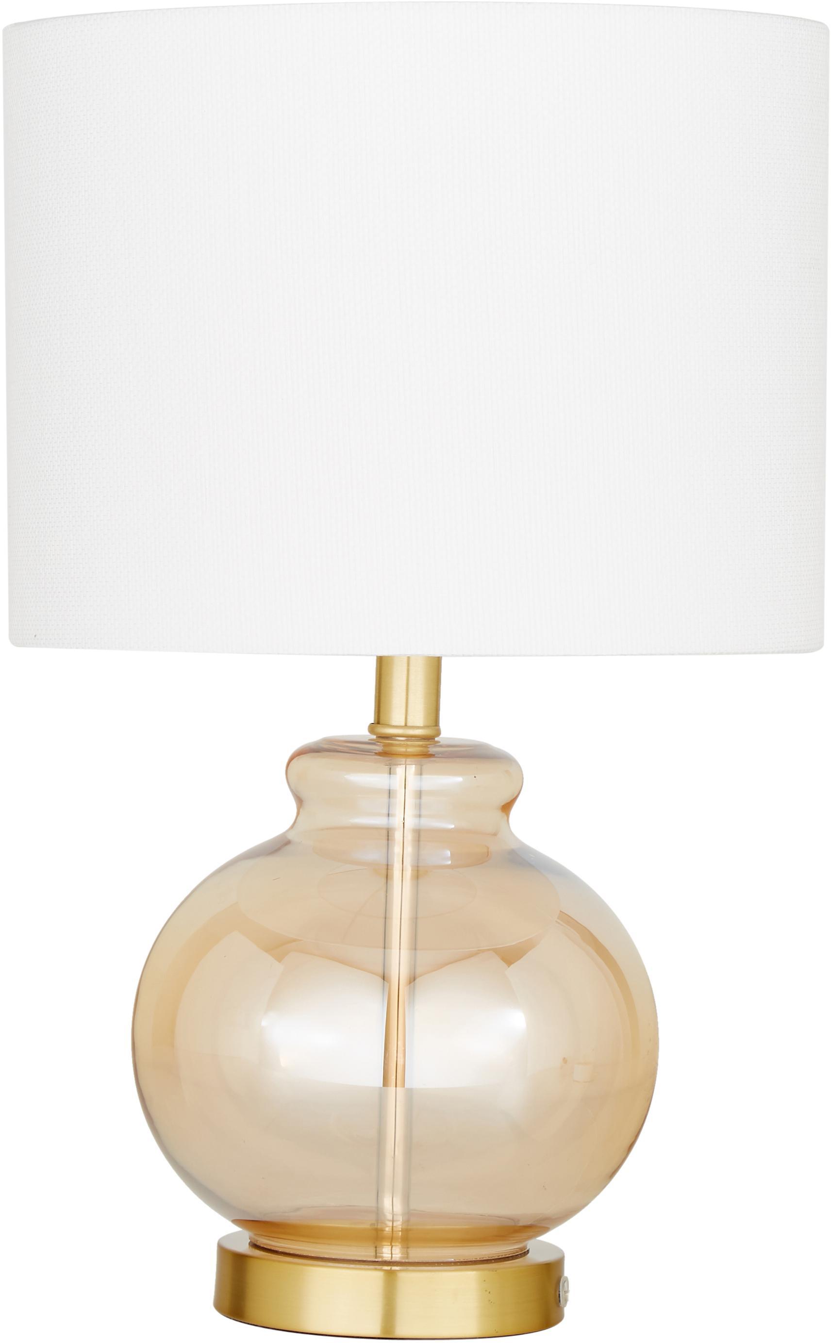 Tafellamp Natty, Lampenkap: textiel, Lampvoet: glas, geborsteld messing, Wit, amberkleurig, transparant, Ø 31 x H 48 cm