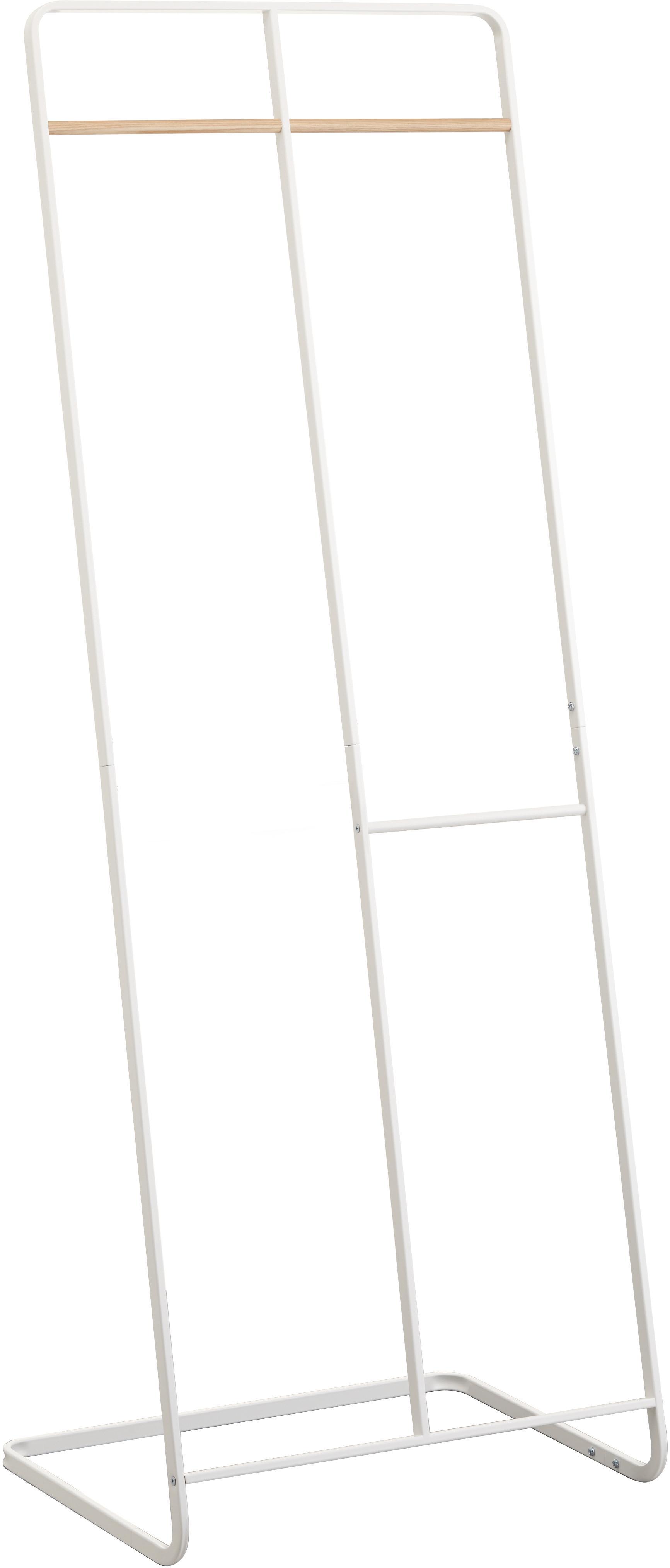 Appendiabiti in metallo bianco Towi, Struttura: metallo verniciato a polv, Asta: legno, Bianco, Larg. 61 x Alt. 163 cm