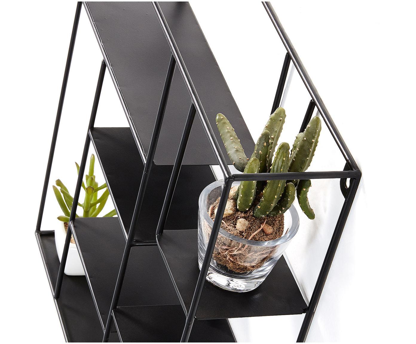 Mini wandrek Nils in zwart, Gepoedercoat metaal, Zwart, 37 x 38 cm
