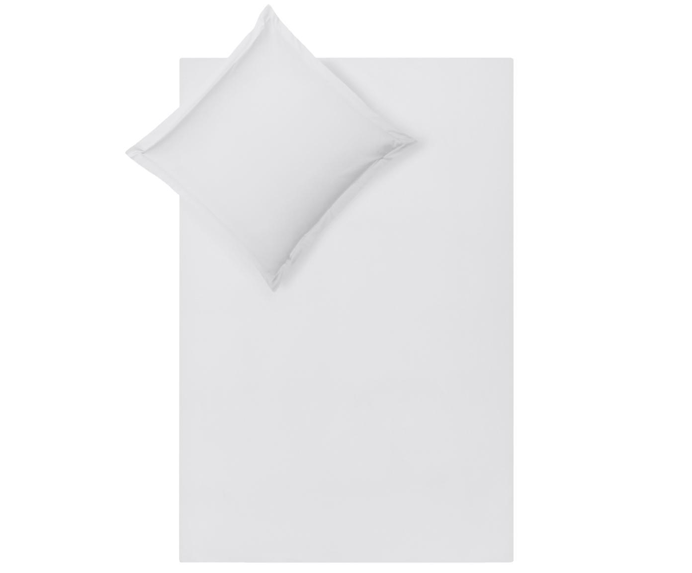 Pościel z satyny bawełnianej Premium, Jasny szary, 135 x 200 cm