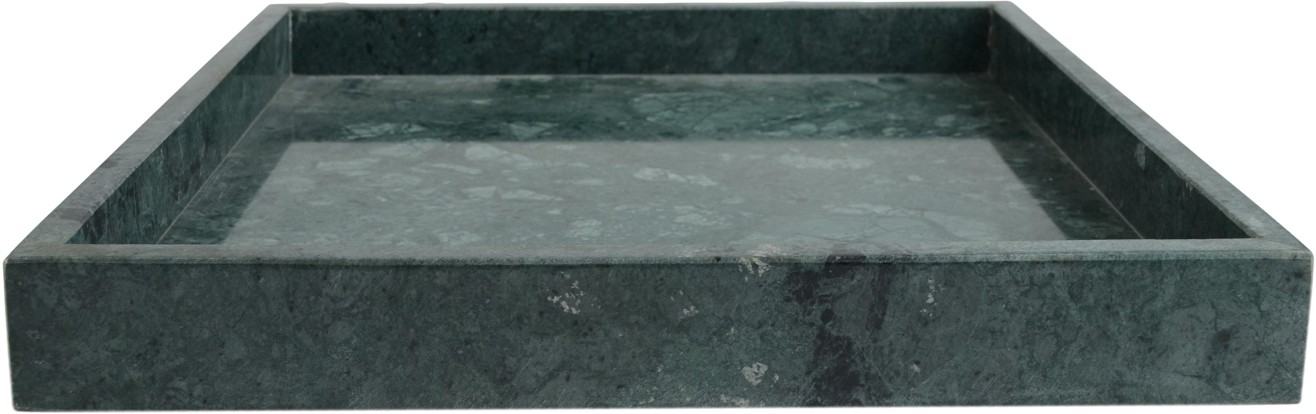 Decoratief marmeren dienblad Ciaran, Marmer, Gemarmerd groen, B 30 x D 30 cm