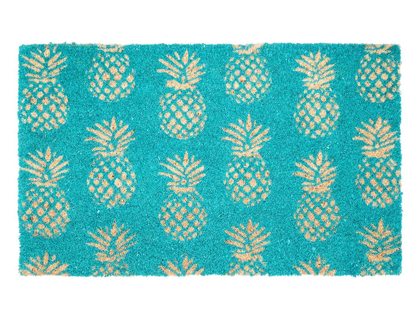 Fußmatte Pineapples in Türkis, Kokosfaser, Türkis, Beige, 45 x 75 cm