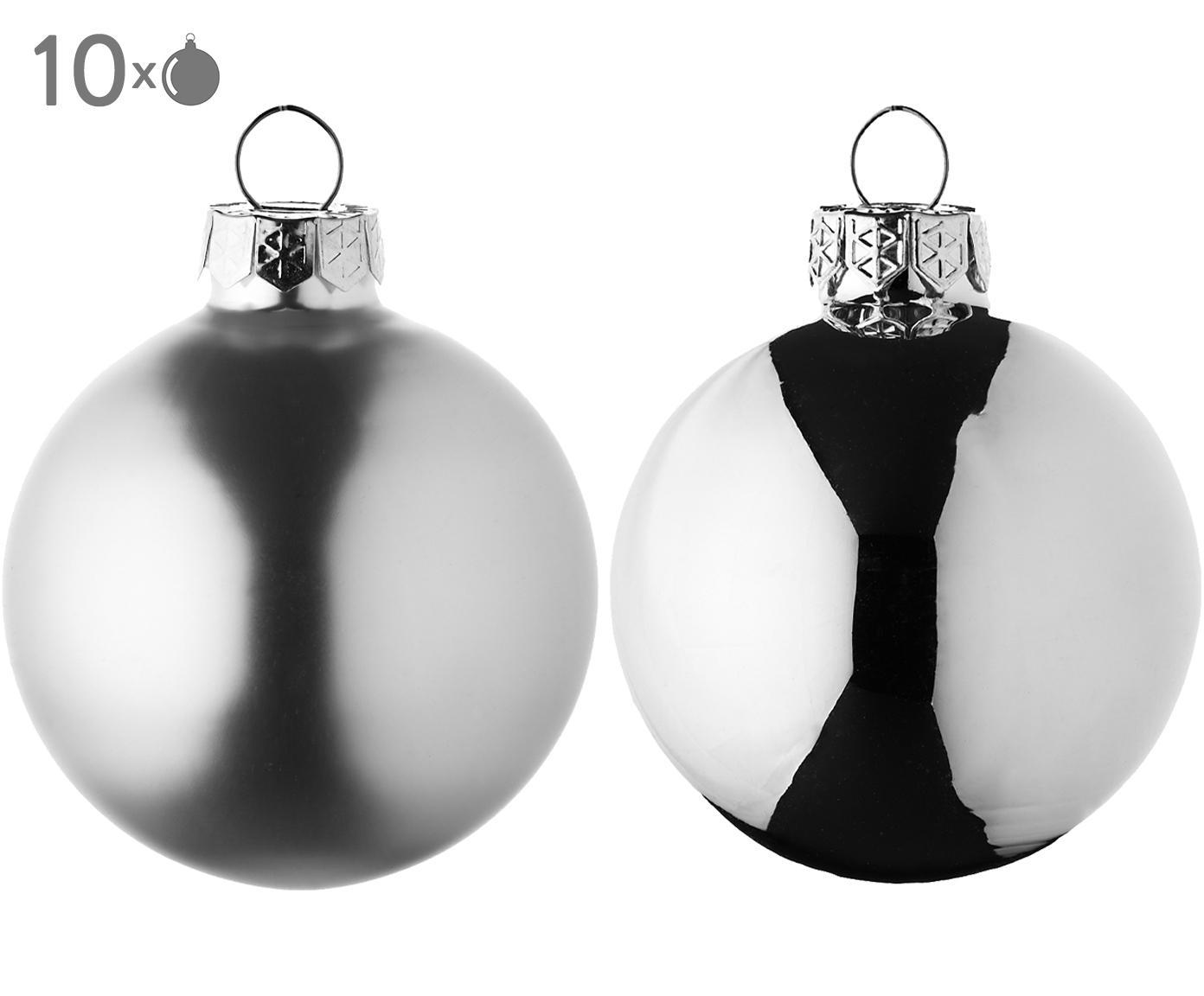 Kerstballenset Evergreen, 10-delig, Zilverkleurig, Ø 6 cm