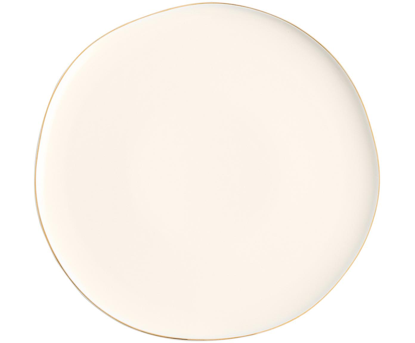 Dinerborden Pacifica, 2 stuks, Porselein, Wit. Rand: goudkleurig, Ø 26 cm
