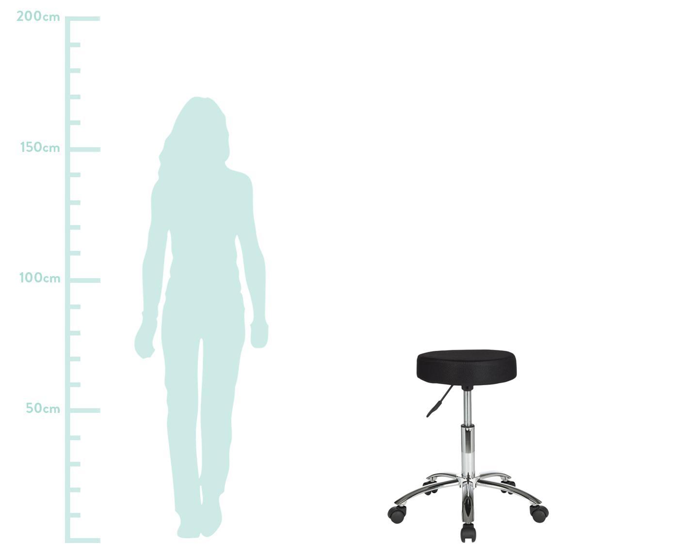 Höhenverstellbarer Bürohocker Leon mit Rollen, Bezug: Nylon, Polyamid, Gestell: Metall, verchromt, Rollen: Kunststoff, Schwarz, Chrom, Ø 55 x H 60 cm