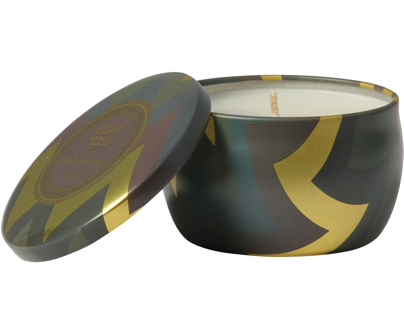 Duftkerze Hanneke (Pfirsich, Bergamotte & Melone), Behälter: Metall, Goldfarben, Braun, Grün, Ø 8 x H 5 cm