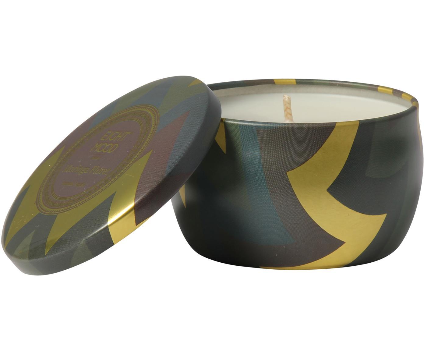 Świeca zapachowa Hanneke (brzoskwinia, bergamotka i melon), Odcienie złotego, brązowy, zielony, Ø 8 x W 5 cm