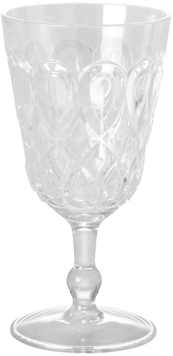 Acryl-wijnglazen Swirly met structuur in landelijke stijl, 2-delig, Acrylglas, Transparant, Ø 9 x H 17 cm