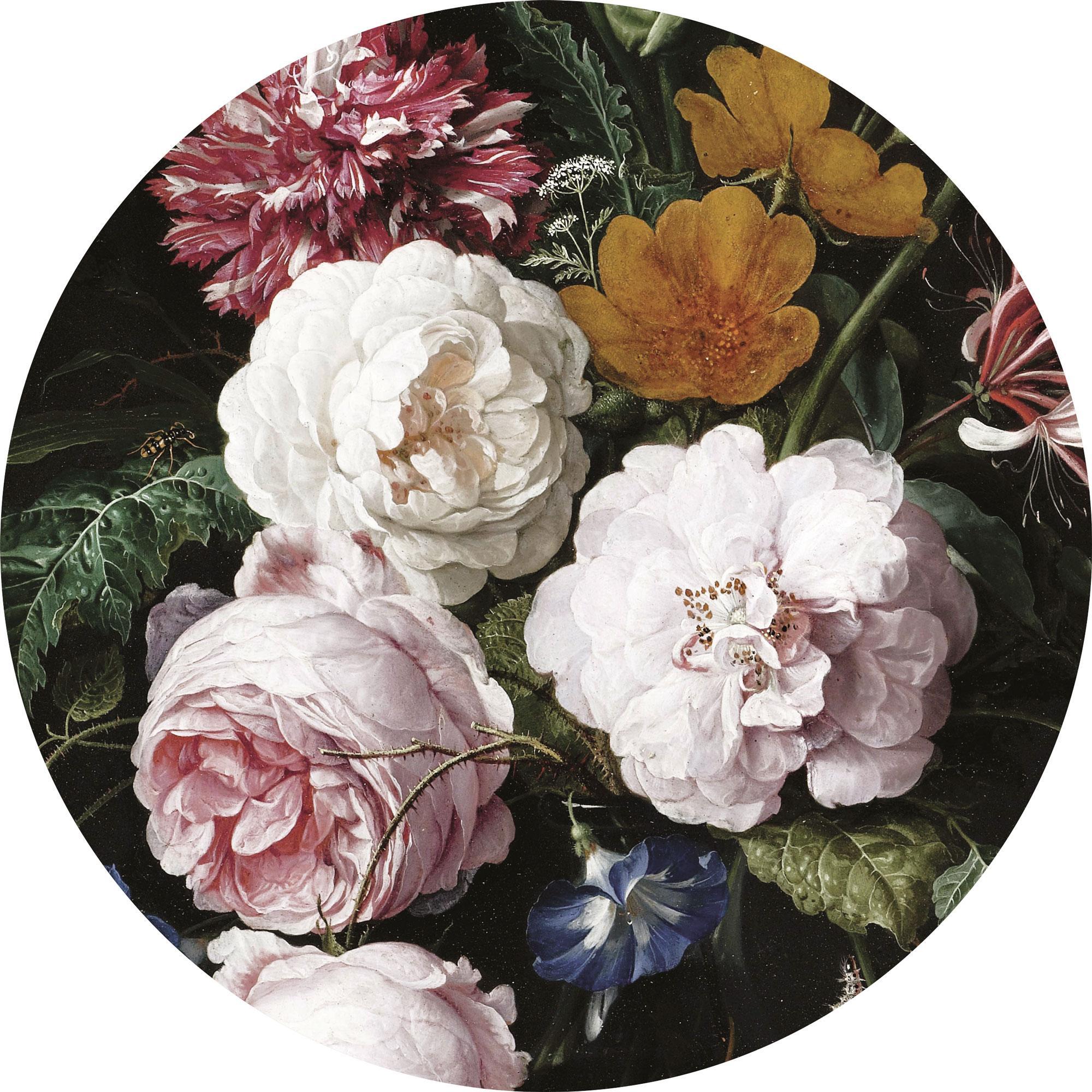 Adesivo murale rotondo Golden Age Flowers, Tessuto non tessuto opaco, ecologico e biodegradabile, Multicolore, Ø 190 cm