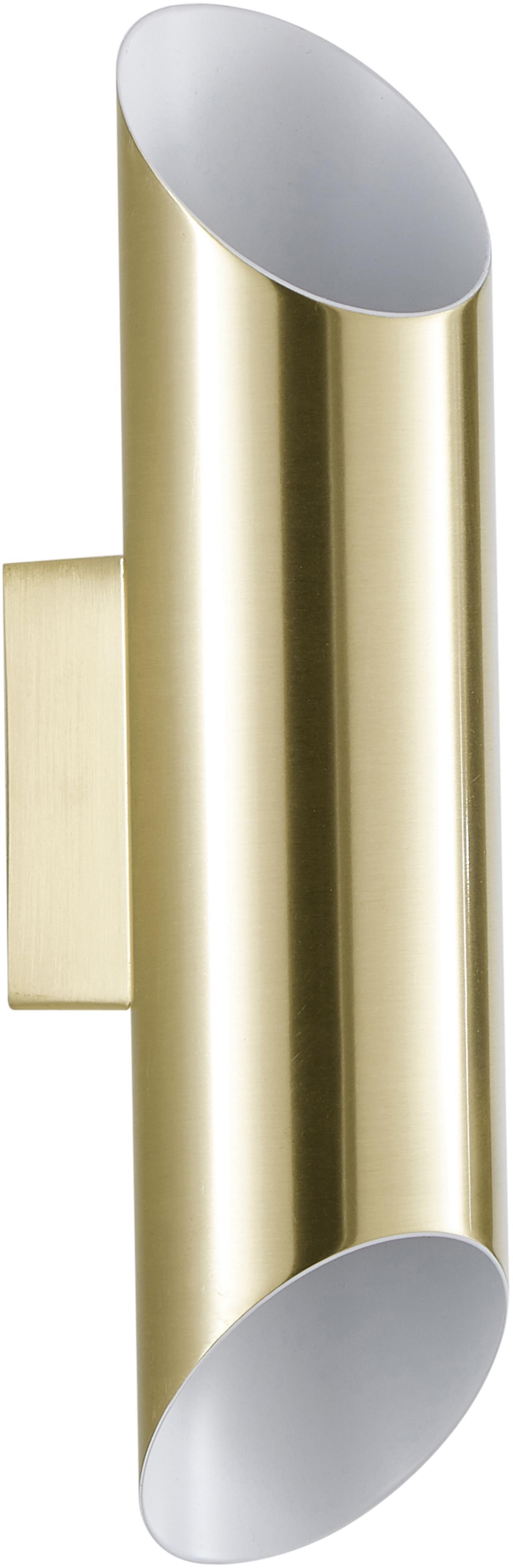 Wandleuchte Renee, Baldachin: Metall, gebürstet, Lampenschirm: Metall, gebürstet, Goldfarben,matt, 7 x 28 cm