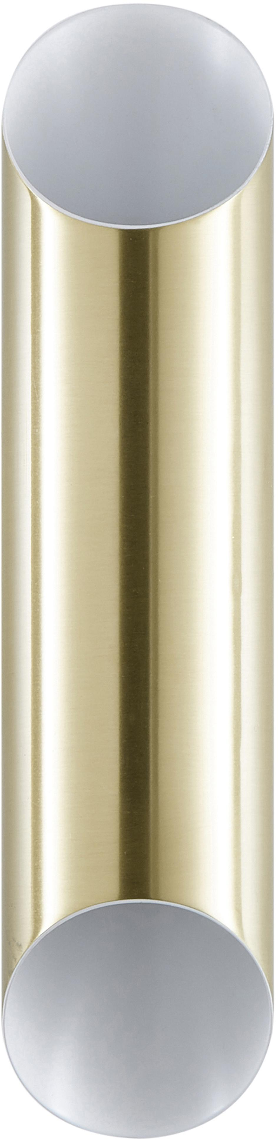 Applique Renee, Baldacchino: metallo spazzolato, Paralume: metallo spazzolato, Dorato opaco, Larg. 7 x Alt. 28 cm