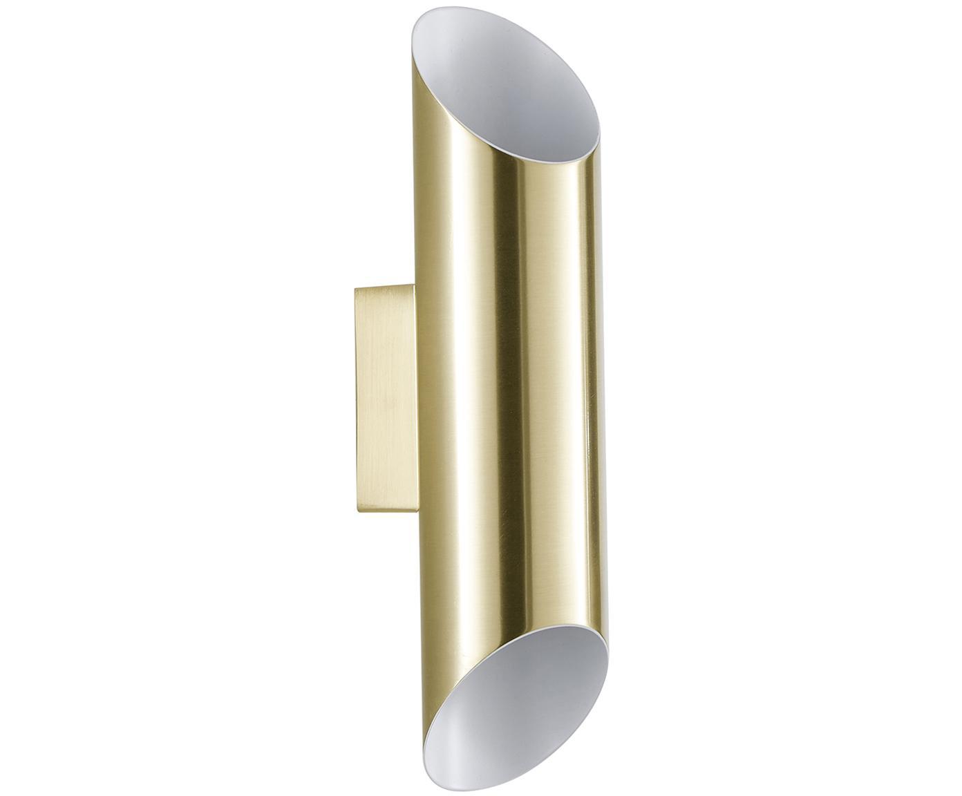 Wandlamp Renee, Baldakijn: geborsteld metaal, Lampenkap: geborsteld metaal, Mat goudkleurig, 7 x 28 cm