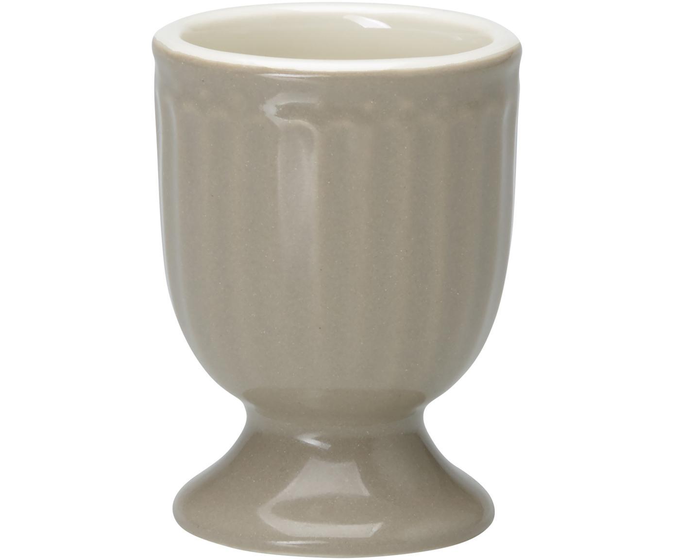 Soportes de huevo Alice, 2uds., Porcelana, Gris, Ø 5 x Al 7 cm