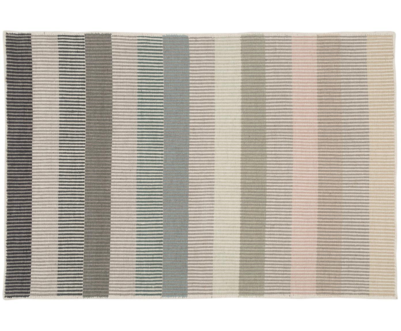 Gestreepte wollen vloerkleed Devise, handgeweven, Multicolour, 140 x 200 cm