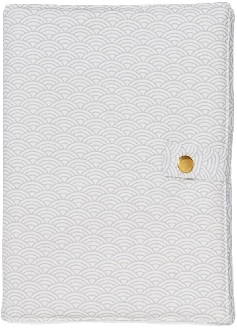 Hoes voor A5 boekje Wave van biokatoen, Biokatoen, OCS-gecertificeerd, Grijs, wit, 15 x 21 cm