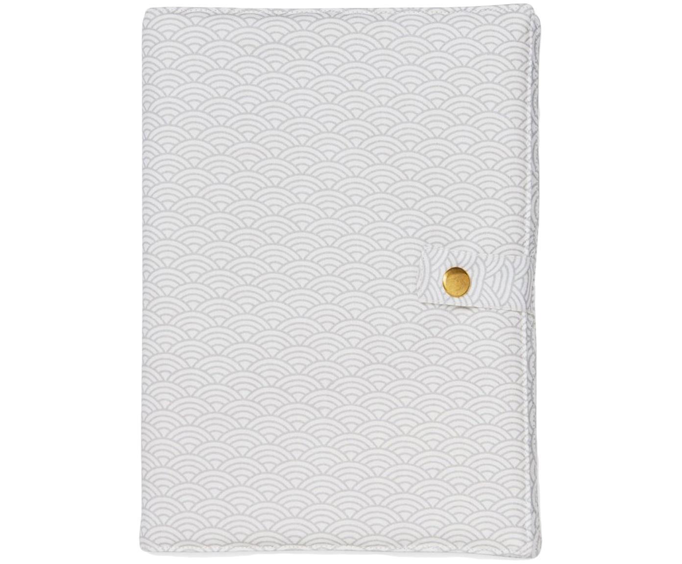 U-Heft-Hülle Wave aus Bio-Baumwolle, Bio-Baumwolle, OCS-zertifiziert, Grau, Weiss, 15 x 21 cm