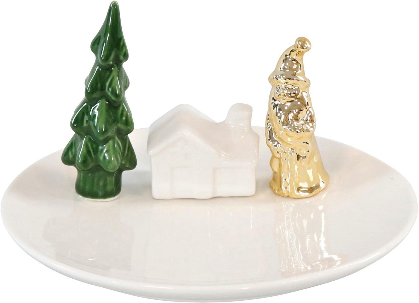 Set de piezas decorativas Scene, 4pzas., Cerámica, Blanco. Verde, dorado, Set de diferentes tamaños