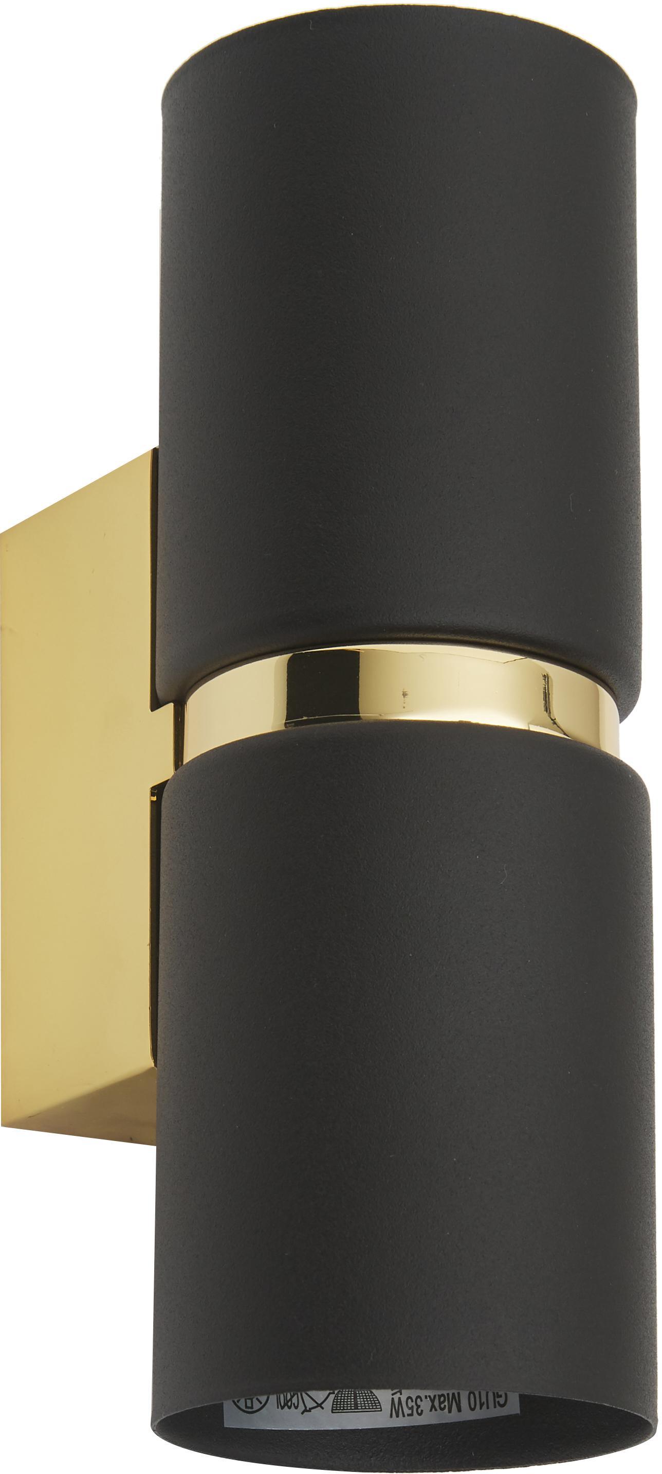 Wandlamp Passa, Gelakt staal, Zwart, goudkleurig, 6 x 17 cm