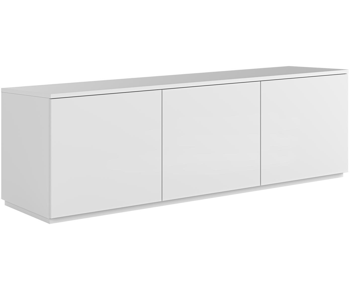 Credenza bassa bianca con ante Join, Pannello di fibra a media densità, verniciato, Bianco, Larg. 180 x Alt. 57 cm