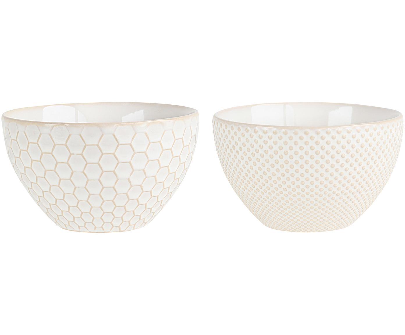 Set ciotole Linna 4 pz, Ceramica, Bianco spezzato, beige, Ø 13 x Alt. 7 cm