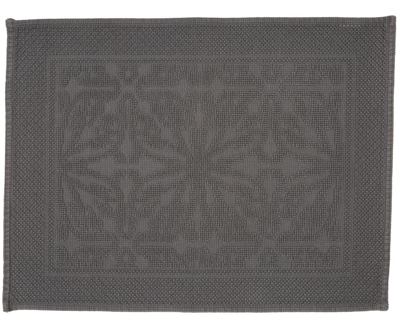 Badvorleger Hammam mit Hoch-Tief-Muster, 100% Baumwolle, schwere Qualität, 1700 g/m², Dunkelgrau, 60 x 80 cm