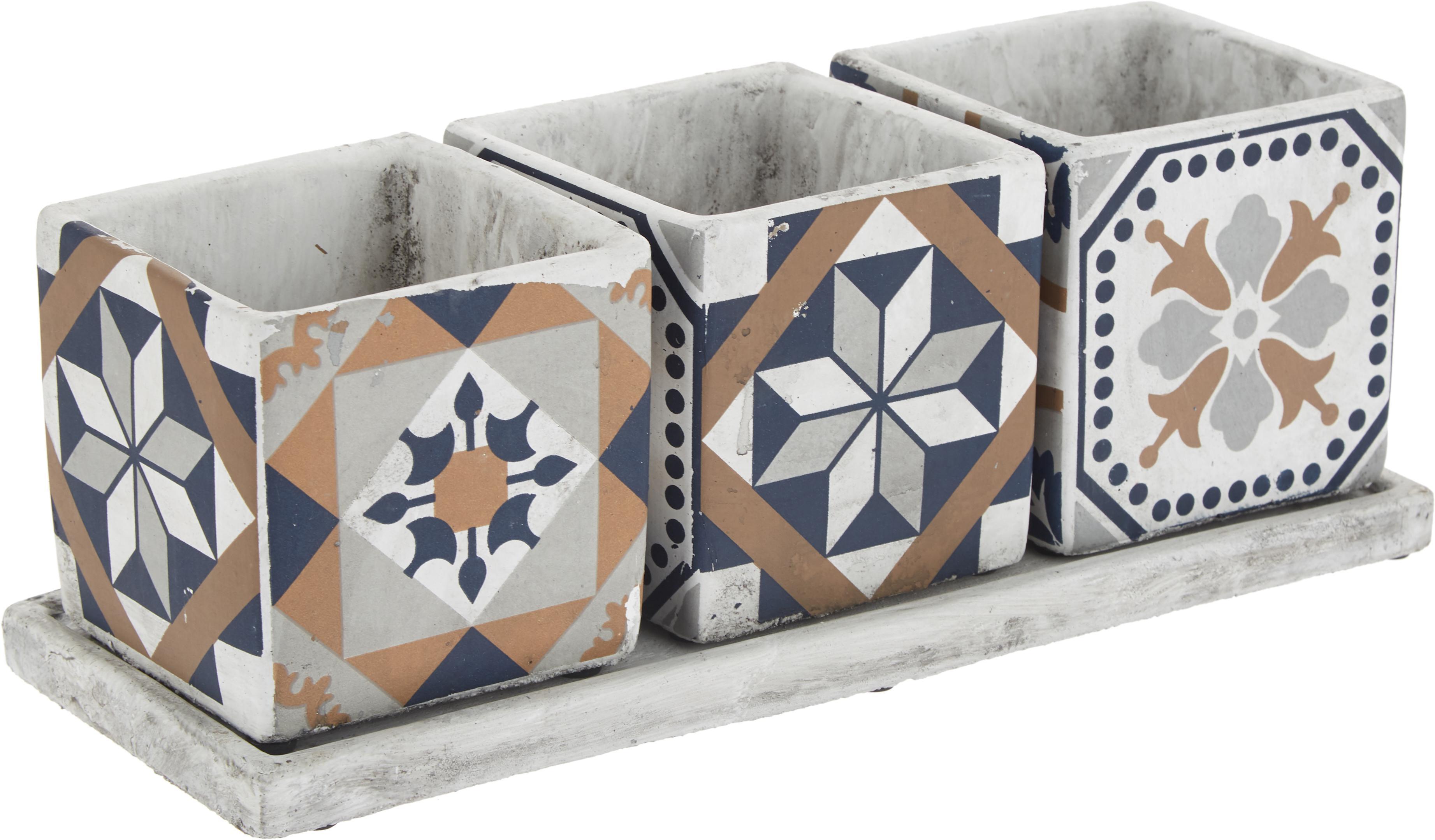 Set 4 portavasi in cemento Portugal, Cemento, Multicolore, Larg. 36 x Alt. 13 cm