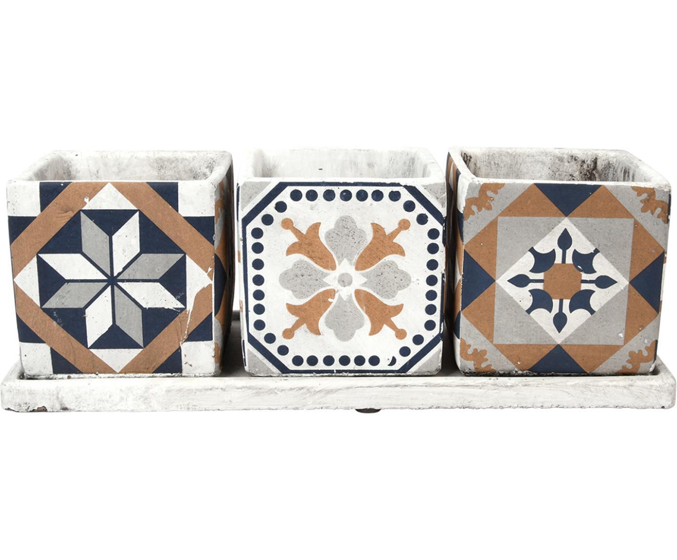 Set 4 portavasi Portugal, Cemento, Multicolore, Larg. 36 x Alt. 13 cm