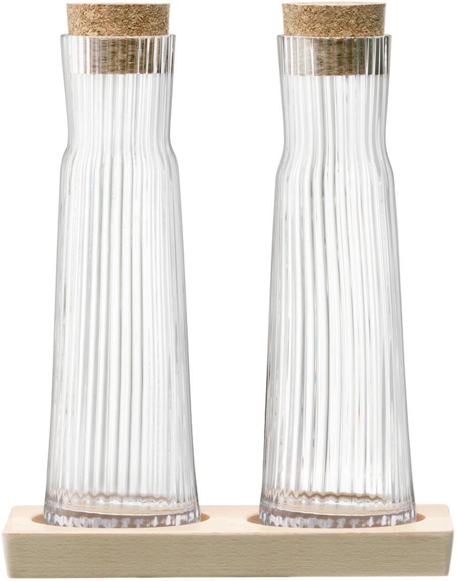 Essig- und Öl-Flaschen-Set Gio Line mit Rillenrelief, 3-tlg., Verschluss: Kork, Tablett: Buchenholz, Transparent, Kork, 16 x 20 cm